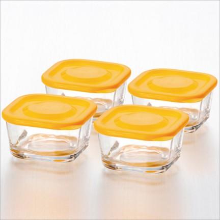 """Набор из 4х лотков с крышкой, цвет: оранж """"Джой"""""""