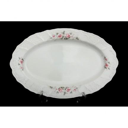 Блюдо овальное Бледные розы, отводка платина 34 см