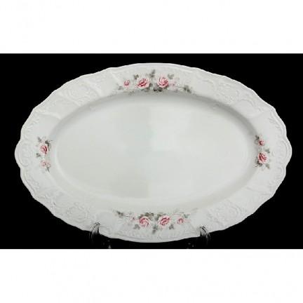 Блюдо овальное Бледные розы, отводка платина 36 см