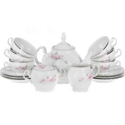 Чайный сервиз Бледные розы, отводка платина на 6 персон