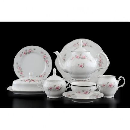 Чайный сервиз Бледные розы, отводка платина на 12 персон ( 41 предмет)