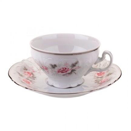 Чашка с блюдцем Бледные розы, отводка платина 155 мл НУ