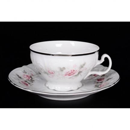 Чашка с блюдцем Бледные розы, отводка платина 155 мл