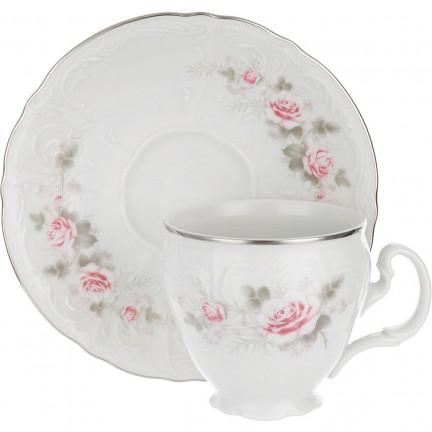 Чашка с блюдцем Бледные розы, отводка платина 140 мм