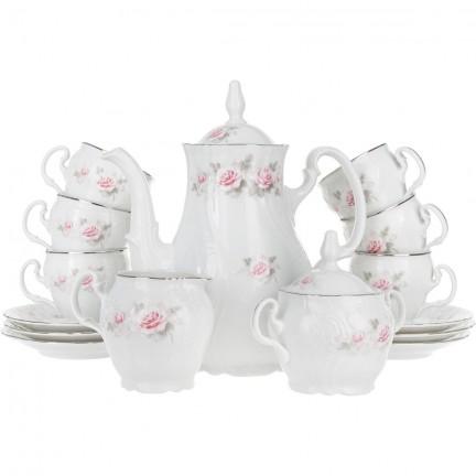 Кофейный сервиз Бледные розы, отводка платина на 6 персон ( 15 предметов)