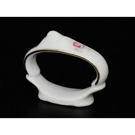 Кольцо для салфеток Бледные розы, отводка платина