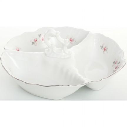 Менажница (кабарет) Бледные розы, отводка платина