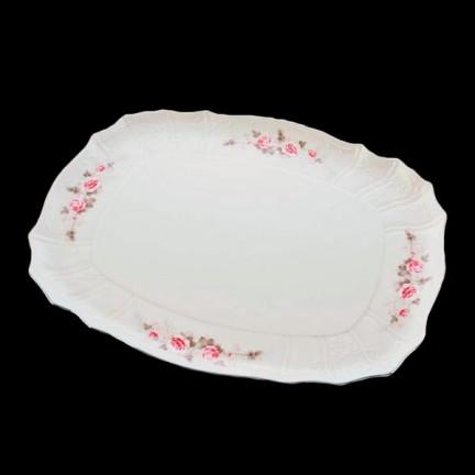Поднос 40 см Бледные розы, отводка платина