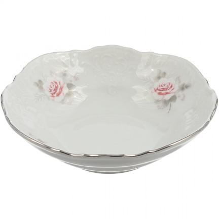 Салатник Бледные розы, отводка платина 13 см
