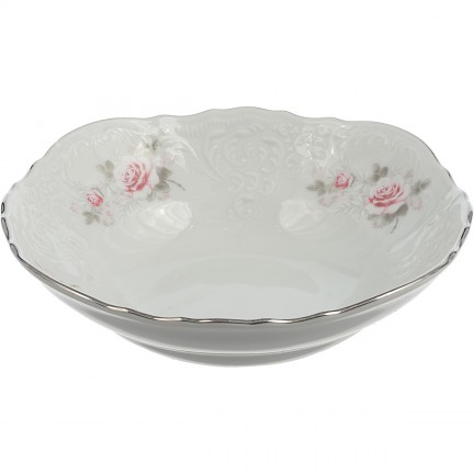 Салатник Бледные розы, отводка платина 16 см