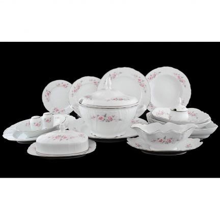 Столовый сервиз Бледные розы, отводка платина на 12 персон (72 предмета)
