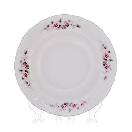 Тарелка глубокая Бледные розы, отводка платина 23 см