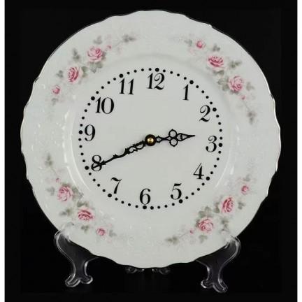 Часы настенные Бледные розы, отводка платина