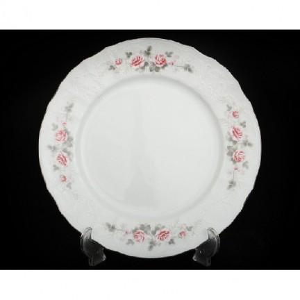 Тарелка мелкая Бледные розы, отводка платина 25 см