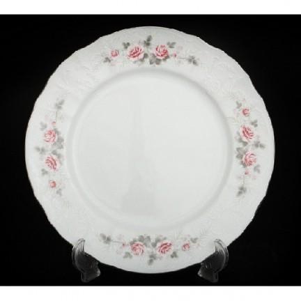 Тарелка Бледные розы, отводка платина 21 см