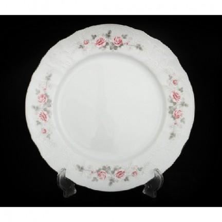 Тарелка десертная Бледные розы, отводка платина 19 см