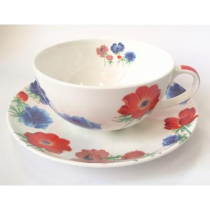 """Чайная пара """"Красно-синие цветы"""""""
