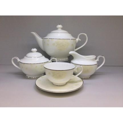 """Сервиз чайный """"Бежевая роза"""" 17 предметов на 6 персон"""