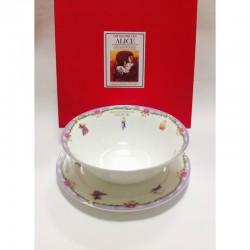 """Набор из двух предметов: Тарелка + салатник """"Алиса"""" фиолетовый кант"""