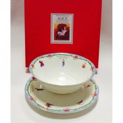 "Набор из двух предметов: Тарелка + салатник ""Алиса"" голубой кант"