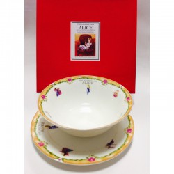 """Набор из двух предметов: Тарелка + салатник """"Алиса"""" оранжевый кант"""