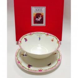 "Набор из двух предметов: Тарелка + салатник ""Алиса"" розовый кант"