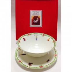 """Набор из двух предметов: Тарелка + салатник """"Алиса"""" зеленый кант"""