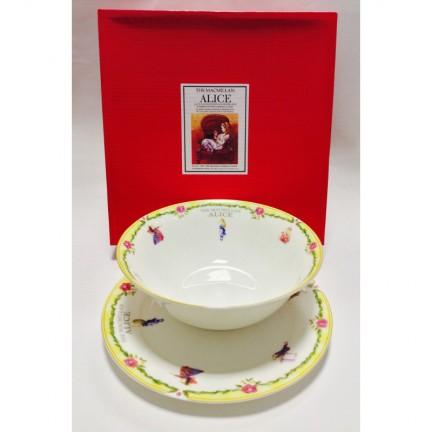 "Набор из двух предметов: Тарелка + салатник ""Алиса"" желтый кант"