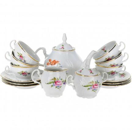 Чайный сервиз на 6 персон Мейсенский букет (17 предметов)