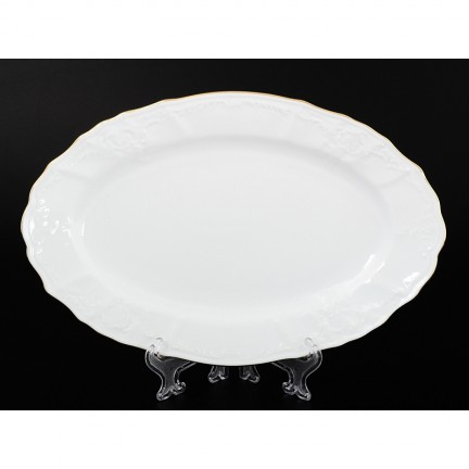 Блюдо овальное Отводка золото 34 см