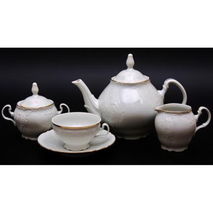 Чайный сервиз на 6 персон Отводка золото 15 предметов