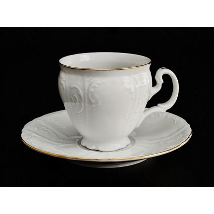 Чашка с блюдцем Отводка золото 140 мм
