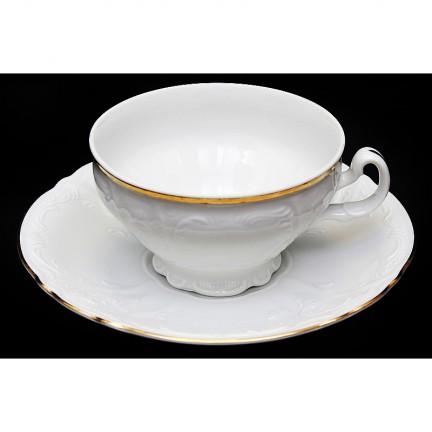Чашка с блюдцем Отводка золото 160 мм