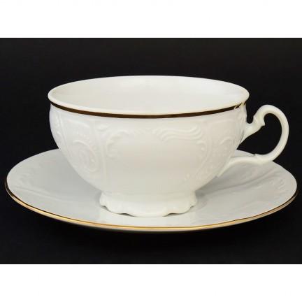 Чашка с блюдцем Отводка золото 180 мм