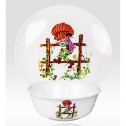 """Набор из двух предметов: Тарелка + салатник """"Мальчик на заборе"""""""