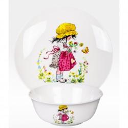 """Набор из двух предметов: Тарелка + салатник """"Девочка с бабочкой"""""""