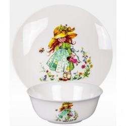 """Набор из двух предметов: Тарелка + салатник """"Девочка с куклой"""""""